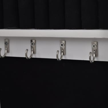 White Tabletop Wooden Jewelry Cabinet with Mirror[4/6]