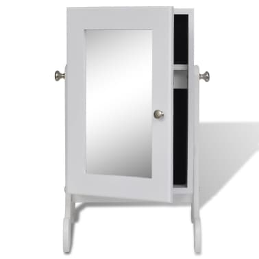 White Tabletop Wooden Jewelry Cabinet with Mirror[5/6]