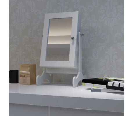 White Tabletop Wooden Jewelry Cabinet with Mirror[1/6]