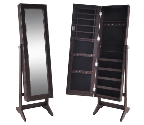 vidaXL Free Standing Jewelry Cabinet with Mirror Brown[2/8]