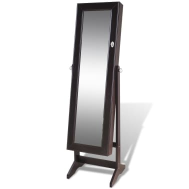 vidaXL Free Standing Jewelry Cabinet with Mirror Brown[3/8]
