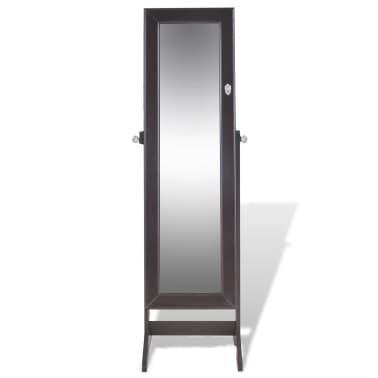 vidaXL Free Standing Jewelry Cabinet with Mirror Brown[4/8]