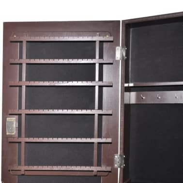 vidaXL Free Standing Jewelry Cabinet with Mirror Brown[6/8]