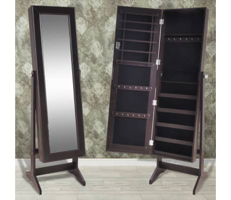 vidaXL Free Standing Jewelry Cabinet with Mirror Brown[1/8]