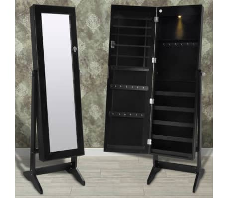 Vidaxl Free Standing Jewelry Cabinet With Led Light And