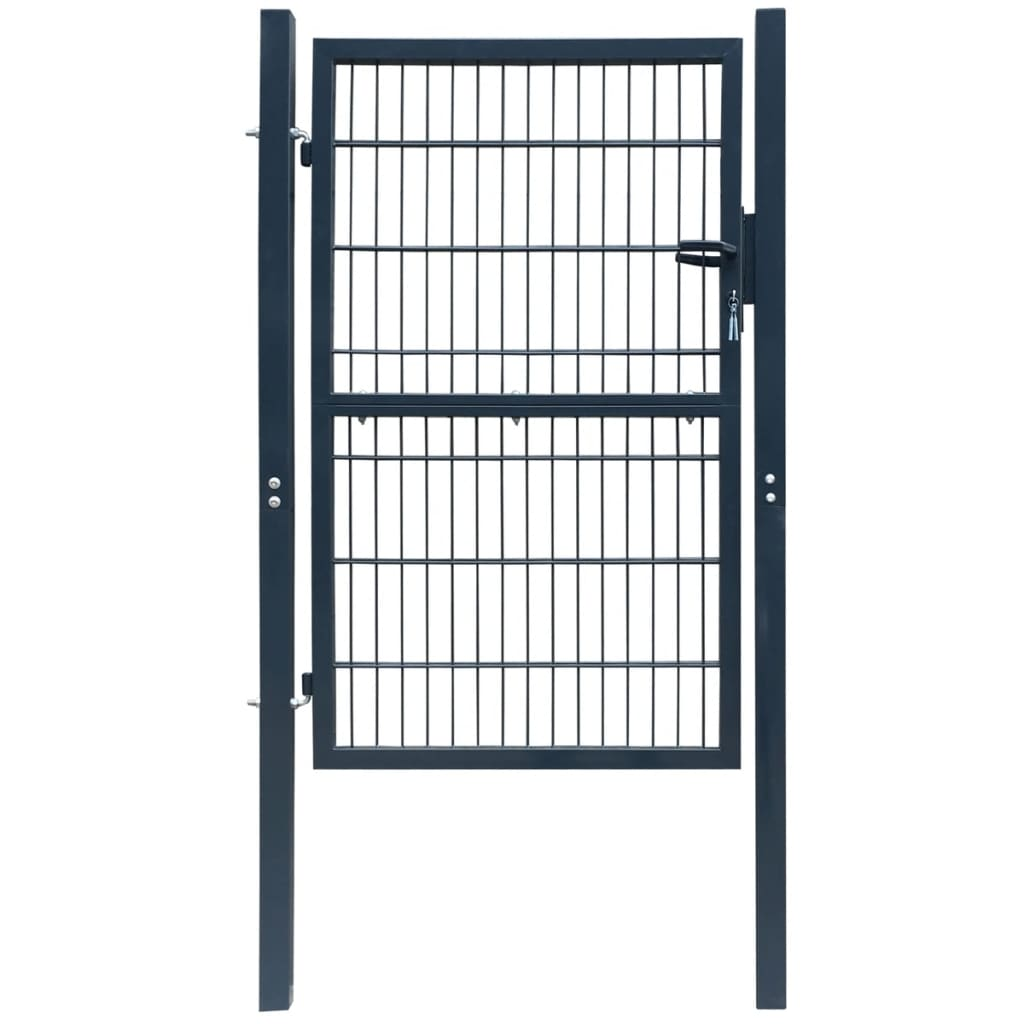 Poartă 2D pentru gard (simplă) 106 x 210 cm, gri antracit vidaxl.ro