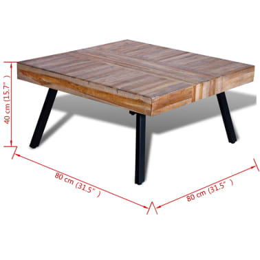 vidaxl table basse carr e bois de teck de r cup ration. Black Bedroom Furniture Sets. Home Design Ideas