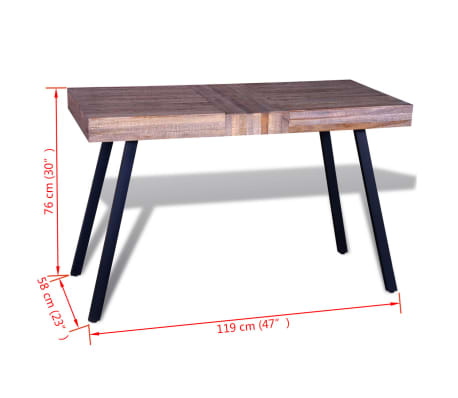 vidaXL Table Teck recyclé[8/8]