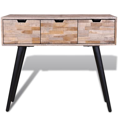 Pleasing Vidaxl Console Table With 3 Drawers Reclaimed Teak Wood Inzonedesignstudio Interior Chair Design Inzonedesignstudiocom
