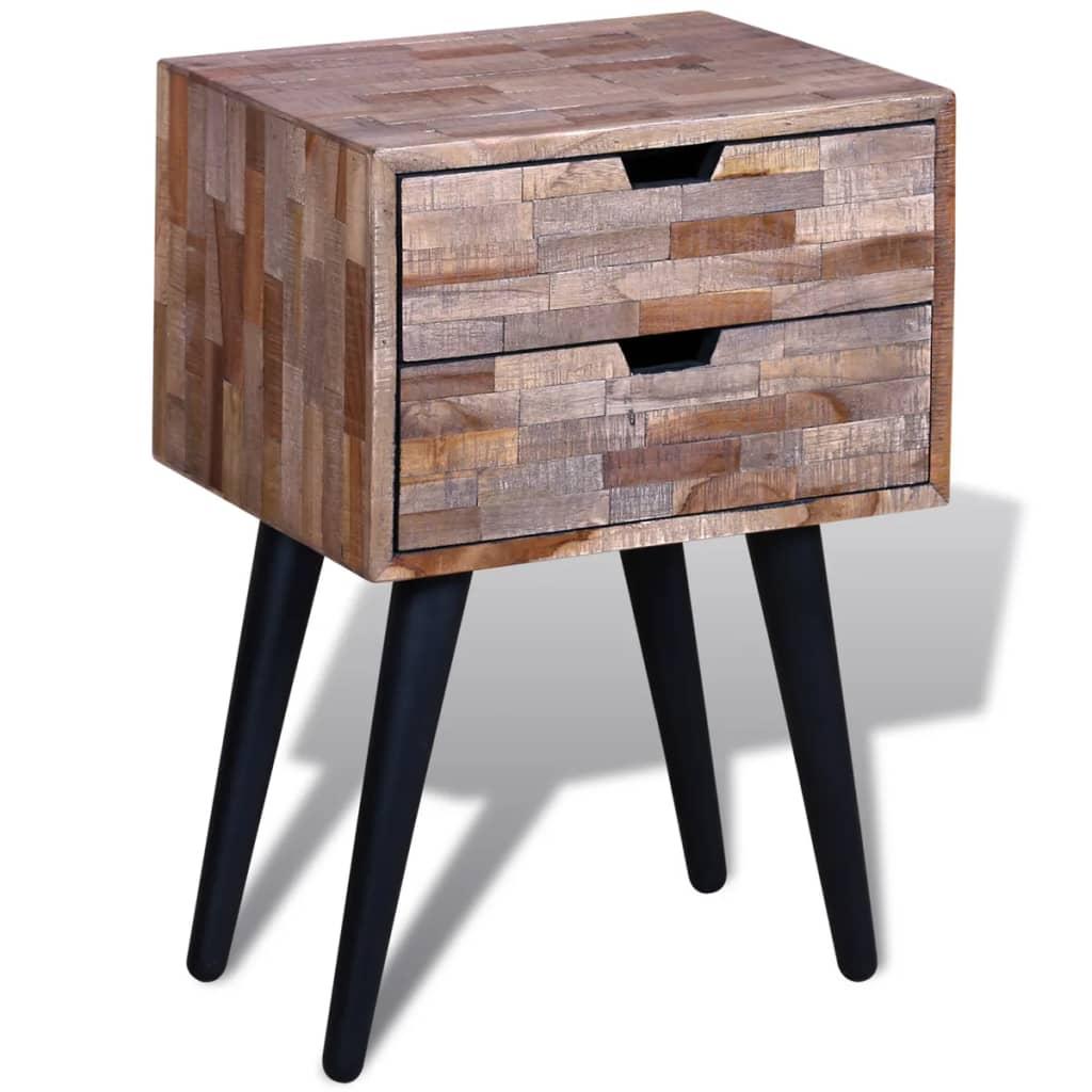 vidaXL Noční stolek se 2 zásuvkami recyklované teakové dřevo