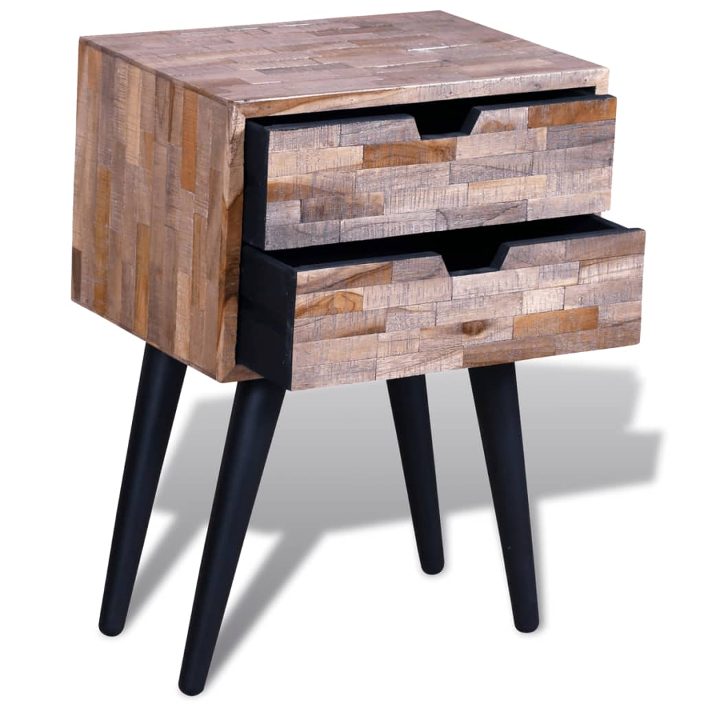 Details about bedside cabinet with 2 drawers reclaimed teak handmade living room furniture