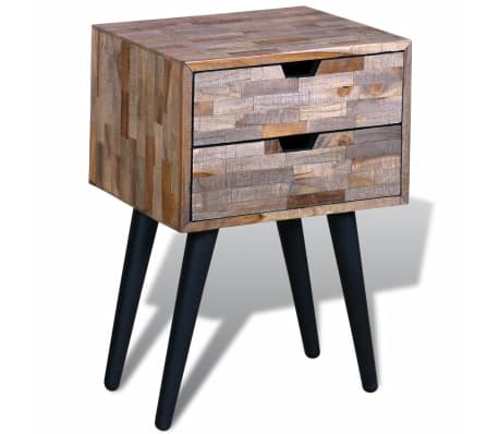 vidaXL Side Cabinet with 2 Drawers Reclaimed Teak Wood[2/9]
