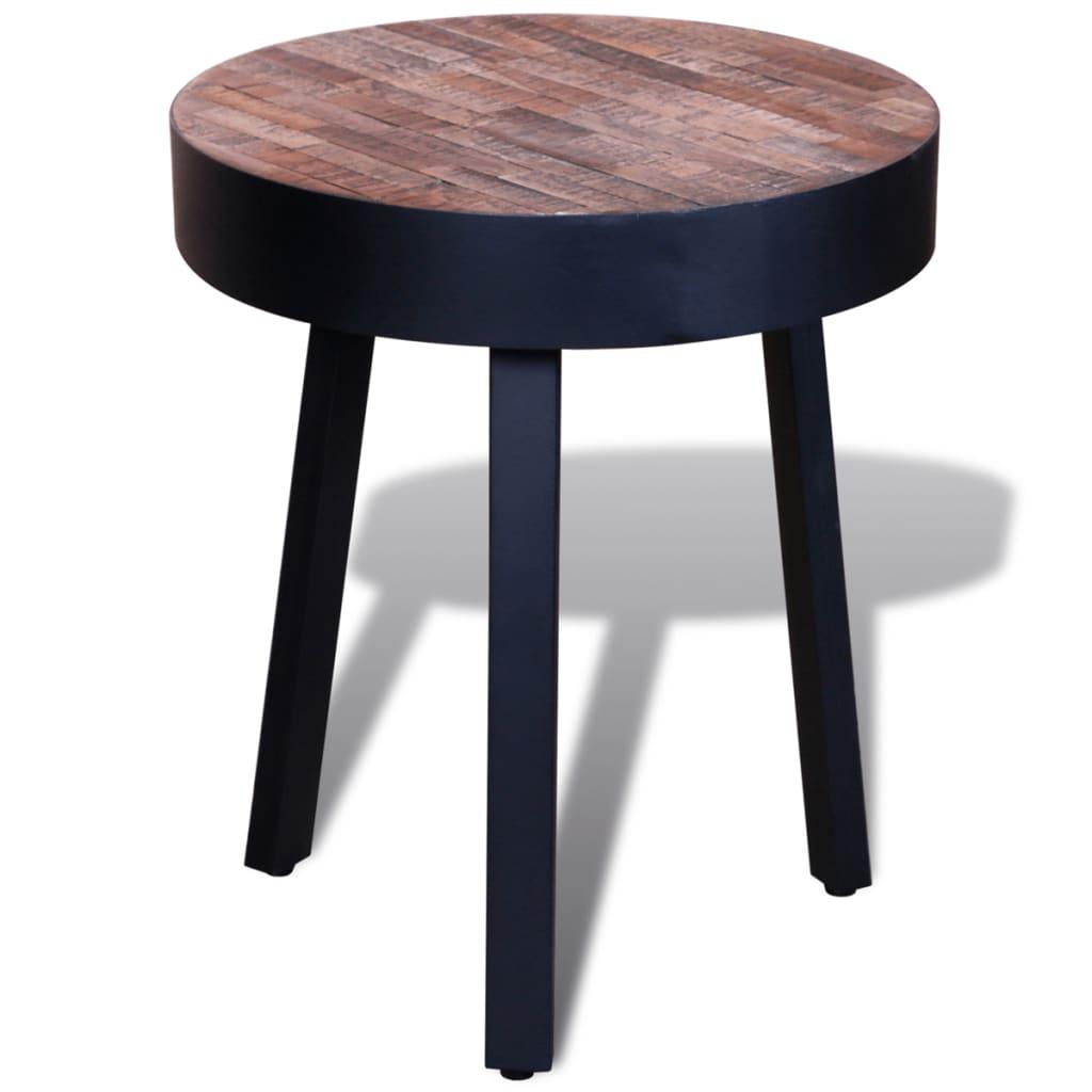 Teak Living Room Furniture: Coffee Table End Side Table Round Reclaimed Teak Wood