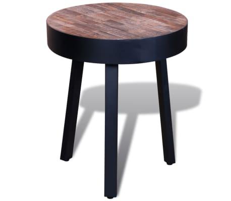 vidaXL End Table Round Reclaimed Teak Wood[2/6]