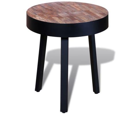 vidaXL End Table Round Reclaimed Teak Wood[3/6]