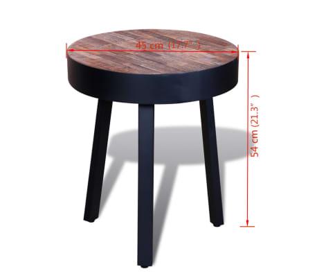 vidaXL End Table Round Reclaimed Teak Wood[6/6]