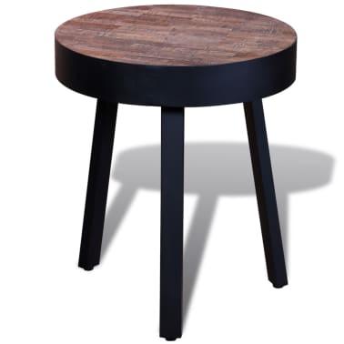 vidaXL End Table Round Reclaimed Teak Wood[4/6]