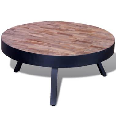 vidaXL Table basse ronde Bois de teck recyclé[3/6]