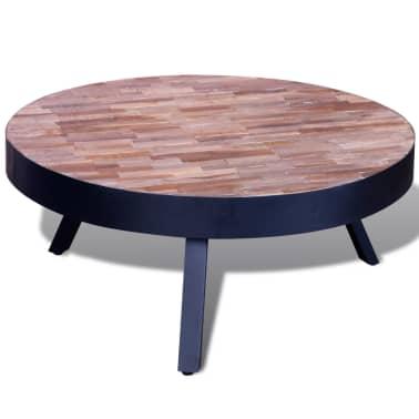 vidaXL Kavos staliukas, apvalus, perdirbta tikmedžio mediena[4/6]