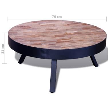vidaXL Kavos staliukas, apvalus, perdirbta tikmedžio mediena[6/6]