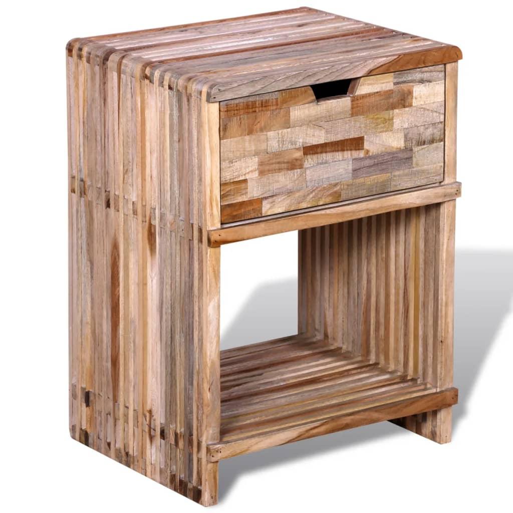 Noční stolek se zásuvkami z užitkového teaku