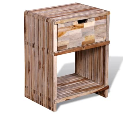 vidaXL Nightstand with Drawer Reclaimed Teak Wood[4/10]