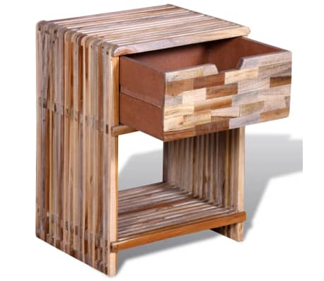 vidaXL Nightstand with Drawer Reclaimed Teak Wood[6/10]