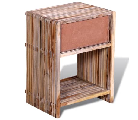 vidaXL Nightstand with Drawer Reclaimed Teak Wood[7/10]