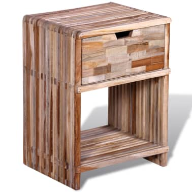 vidaXL Nightstand with Drawer Reclaimed Teak Wood[2/10]