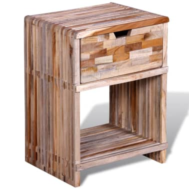 vidaXL Nightstand with Drawer Reclaimed Teak Wood[3/10]