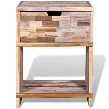 vidaXL Nightstand with Drawer Reclaimed Teak Wood[8/10]