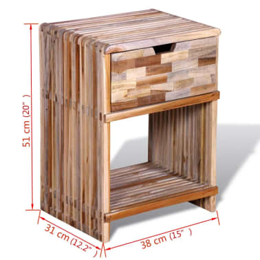 vidaXL Nightstand with Drawer Reclaimed Teak Wood[10/10]