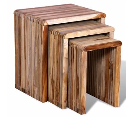 Set of 3 Nesting Tables Reclaimed Teak Hand-made Vintage Rustic Furniture UK