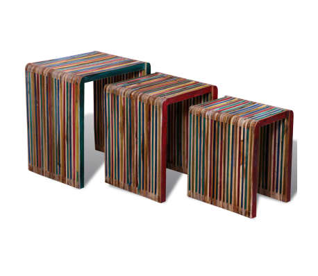 vidaXL Nesting Table Set 3 Pieces Colorful Reclaimed Teak