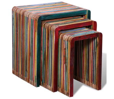 vidaXL Sudedamų stal. komp., 3 d., spalvinga perdirbta tik. mediena[2/8]