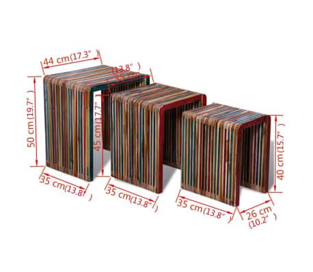 vidaXL Sudedamų stal. komp., 3 d., spalvinga perdirbta tik. mediena[8/8]