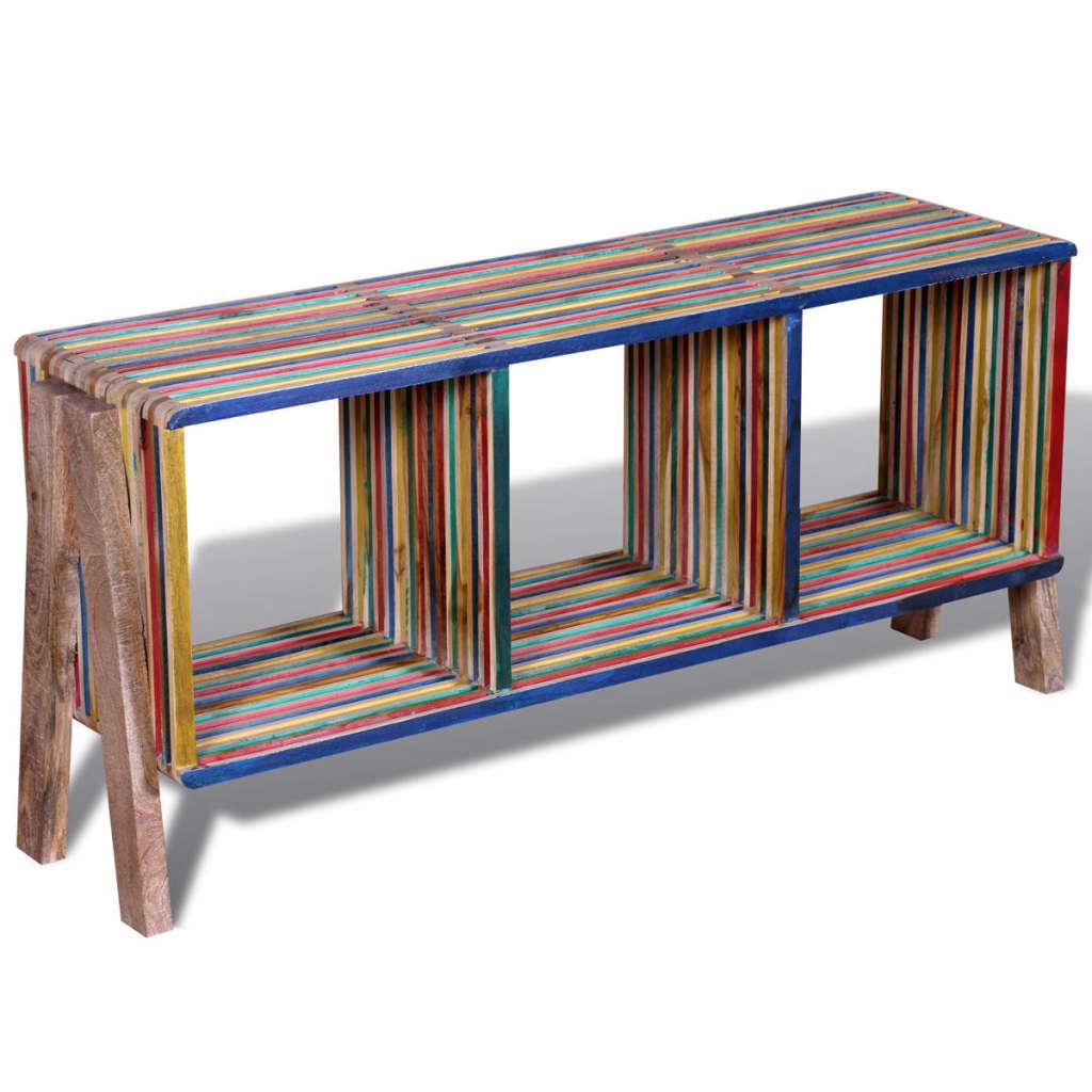 TV stolek se 3 policemi, stohovatelný, barevný recyklovaný teak