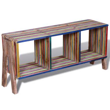 Kolorowa szafka pod Tv z odzyskiwanego drewna tekowego, z 3 półkami[1/8]