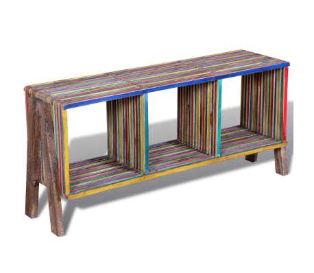 Kolorowa szafka pod Tv z odzyskiwanego drewna tekowego, z 3 półkami[2/8]