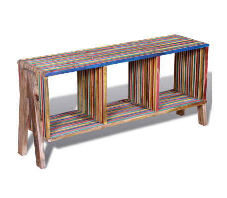 Kolorowa szafka pod Tv z odzyskiwanego drewna tekowego, z 3 półkami[3/8]