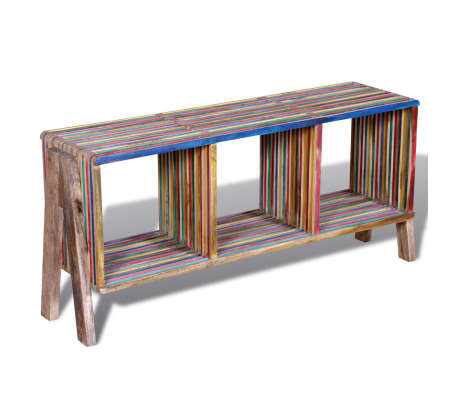 Kolorowa szafka pod Tv z odzyskiwanego drewna tekowego, z 3 półkami[4/8]