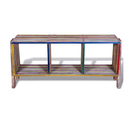 Kolorowa szafka pod Tv z odzyskiwanego drewna tekowego, z 3 półkami[5/8]