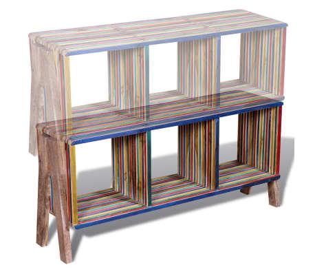Kolorowa szafka pod Tv z odzyskiwanego drewna tekowego, z 3 półkami[7/8]