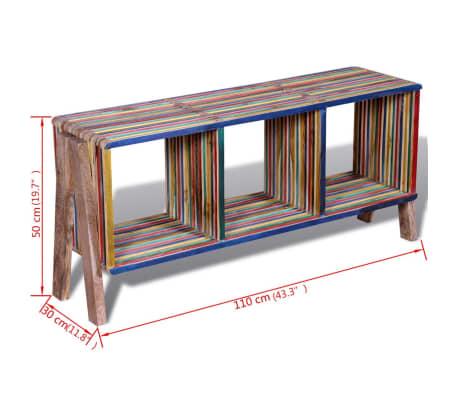Kolorowa szafka pod Tv z odzyskiwanego drewna tekowego, z 3 półkami[8/8]
