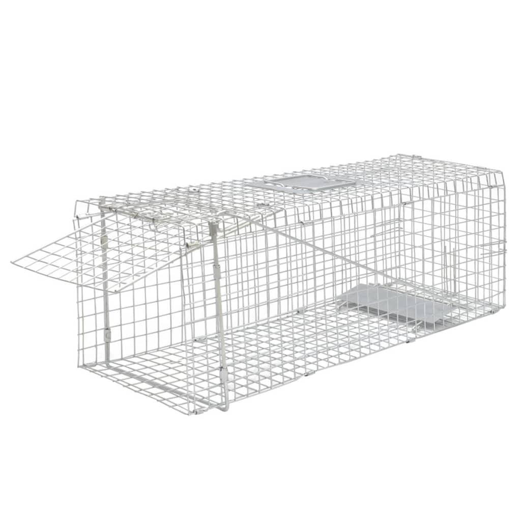 Cușcă capcană galanizată pentru animale 80 cm poza vidaxl.ro