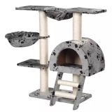 "Cat Tree 41"" Gray with Paw Prints Plush"