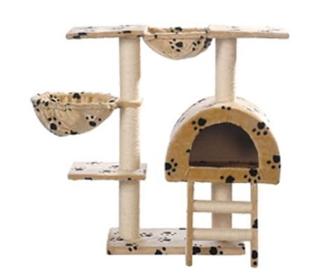 "Cat Tree 41"" Beige with Paw Prints Plush[2/3]"