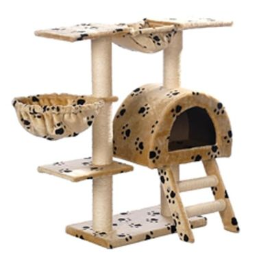 "Cat Tree 41"" Beige with Paw Prints Plush[3/3]"