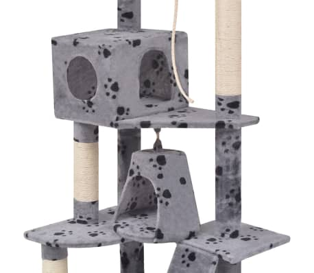 "Cat Tree 75"" Gray with Paw Prints Plush[3/6]"