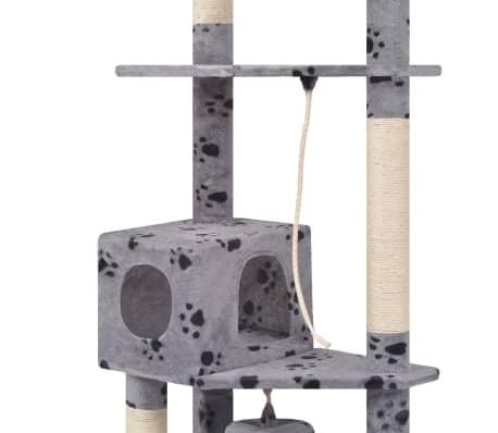 "Cat Tree 75"" Gray with Paw Prints Plush[4/6]"